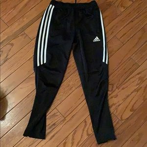 Adidas black with white stripes joggers!